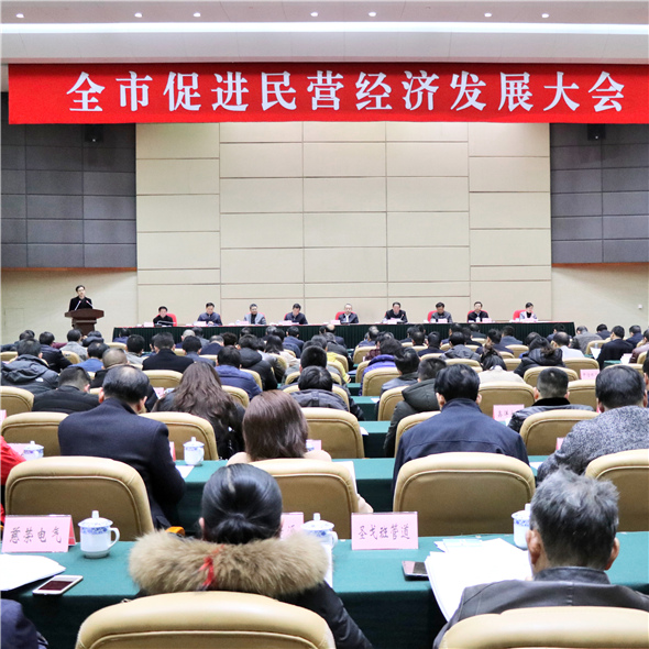 Chairman Tai Zhengbiao attends the citywide conference on promoting private economy development